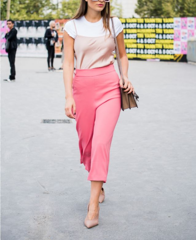 Woman. How to combine women's pink clothing and footwear.